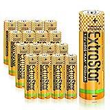 EXTRASTAR Batterie alcaline AAA 1.5 Volt, Performance, confezione da 16