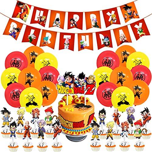 Dragon Ball Cumpleaños Decoracion Globos- Miotlsy 37 Piezas de Dragon Ball Globos Fiesta Cumpleaños Decoración Globos, Decoraciones de Dragon Ball Z Incluyen Adorno para tarta, pancarta, globos