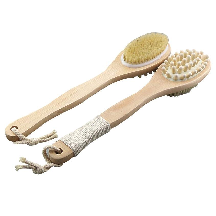 ホイップ夕食を作るグレードFelimoa 柔らか ボディブラシ 豚毛 背中 天然素材 両面仕様 ボディーブラシ 白木 35cm