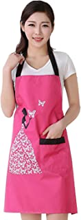 Cityeast Waterproof Aprons for Women Kitchen Aprons with Pocket Durable Women's Waterproof Apron Anti-Oil Butterfly Pinafore(Rose Red)