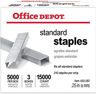 Office Depot Standard Staples, 1/4in, Pack of 3 Boxes, 0