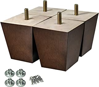 AORYVIC Wood Furniture Legs 3 inch Sofa Legs Pack of 4 Square Couch Legs Brown Mid-Century Modern Replacement Legs for Armchair Recliner Coffee Table Dresser
