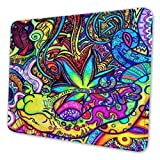 Gaming Mouse Pad - Trippy Weed Leaf Rectangle Rubber Mousepad - 10 X 12 Inch X 0.12''(3mm Thick) Mouse Mat for Gift Support Wired Wireless Or Bluetooth Mouse