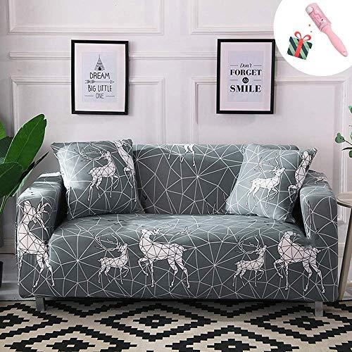 Sofabezüge 1 2 3 4 Sitzer Sofa Schonbezüge Stretch Stoff, Retro Hirsch L-förmige Ecksofa Möbelschutz Abnehmbares waschbares Sofa Couchbezüge Sets (1 Sitzer, Geometrisch)