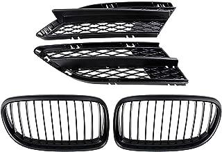 Astra Depot Matte Black Front Center Kidney Grilles Grill and Fog Lamp Lower Bumper Mesh Grille Compatible with 2009-2011 BMW E90 E91 323i 325i 328i 330i 335i LCI Facelift 4-Door