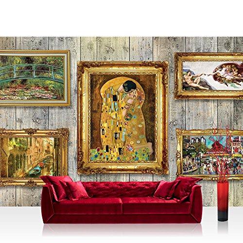 Vlies Fototapete 152.5x104cm PREMIUM PLUS Wand Foto Tapete Wand Bild Vliestapete - Holz Tapetewand Holzoptik Holz Bilderrahmen Kunst Gemälde gold - no. 1483