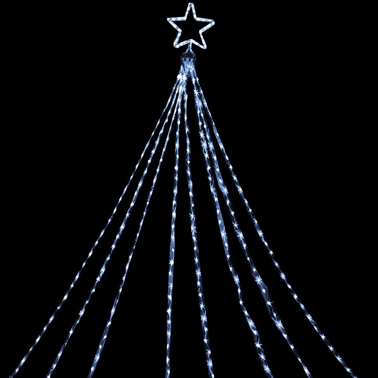 成熟したかわす地味な電光ホーム イルミネーション ドレープライト LED [ 8パターン 点灯 ] 屋外 防水 防雨 星モチーフ付き クリスマスツリー ハロウィン DIY 8m×8本 (ホワイト)
