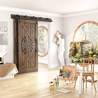 Hahaemall Vintage Interior Bending Design Mini Sliding Barn Door Hardware Kit Fit Cabinets and TV Stand Steel Track Hanger...