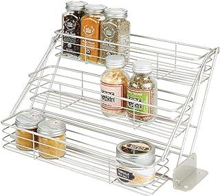 mDesign Organizador de especias para cocina con 3 niveles – Mueble especiero de metal que se abre hacia abajo – Organizador de armarios de cocina compacto para condimentos – plateado mate