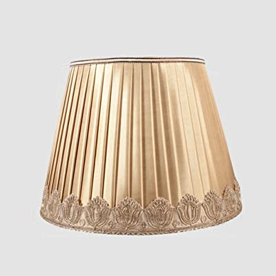 Dorado Plisado pantallas de lámparas, Tambor Pantalla de lámpara retro cónico Tela Pantalla de lámpara para lámpara de mesa Lino Sombra clara Cama Cobertor de lámpara Poseedor E27 portalámparas,D40cm: Amazon.es: Hogar