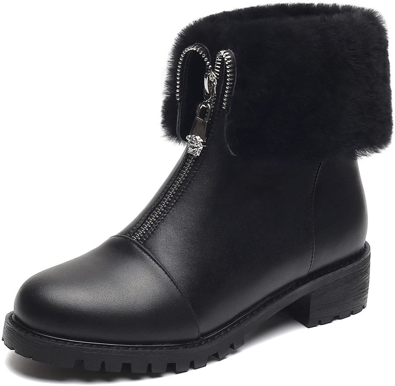 Nine Seven Genuine Leather Women's Round Toe Chunky Heel Back Zip Handmade Elegant Mid Calf Boots