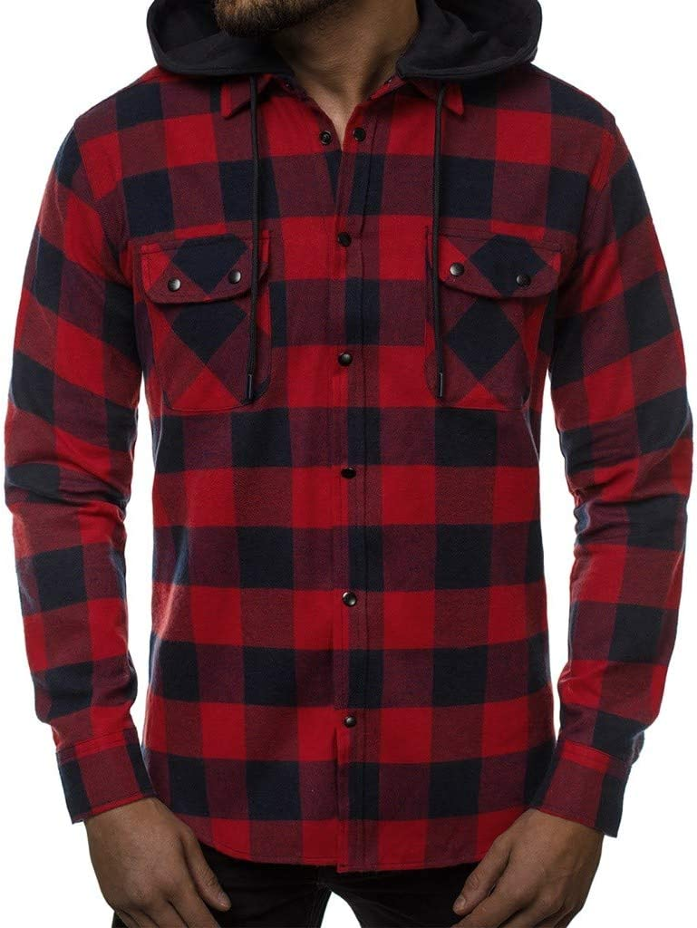 Ranking TOP16 poundy suit Men's Hooded cheap Shirt Plaid Sleeve Fit Slim Long Casual