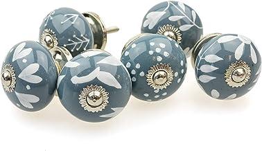 Möbelknopp möbelknopp möbelhandtag uppsättning 6 094GN blandat grått silver – jay knapp keramik porslin handmålade vintage...