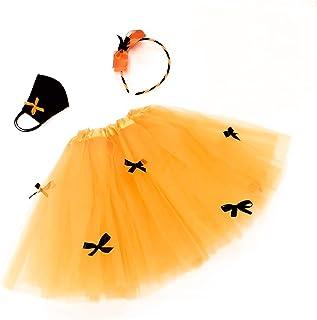 Costume Streghetta Carnevale Bambina-Completo per travestimento da Strega con gonna in tulle, Cerchietto per capelli e Mas...