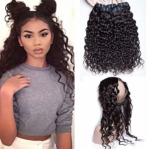 Maxine Hair Brazilian Water Wave 360 Lace Frontal with 3 Bundles 9A Great Malaysian Virgin Human Hair Wet and Wavy Bundles with 360 Frontal Closure(14