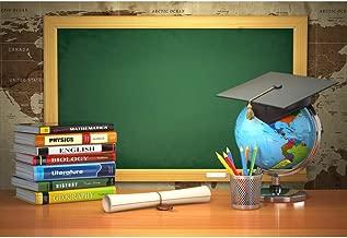 CSFOTO Back to School Backdrop 7x5ft Photography Background Online Course Decor Course Books Blackboard Tellurion Graduation Cap Homecoming Student Children Portrait Photo Studio Props