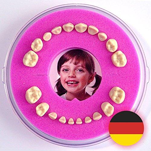 Firsty Milchzahndose - Rosa, Mädchen Round - Inklusive Logbüchlein Deutsch, Kühlschrank-Magnet und Hurra-Aufkleber - ABF Schneller Versand