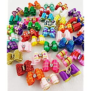 Hixixi 30pcs Pet Dog 3D Shiny Hair Bows Rhinestone Puppy Grooming Bows for Xmas Holiday Party Hair Accessories with Rubber Bands