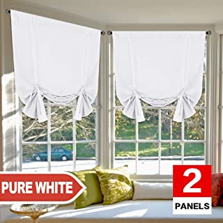 H.VERSAILTEX Pure White Curtains Thermal Insulated Tie Up Window Shade Light Reducing..