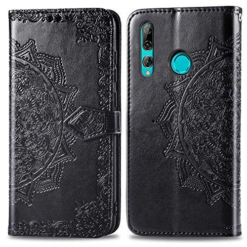 Bear Village Hülle für Huawei Honor 10I / Huawei P Smart Plus 2019, PU Lederhülle Handyhülle für Huawei Honor 10I, Brieftasche Kratzfestes Magnet Handytasche mit Kartenfach, Schwarz
