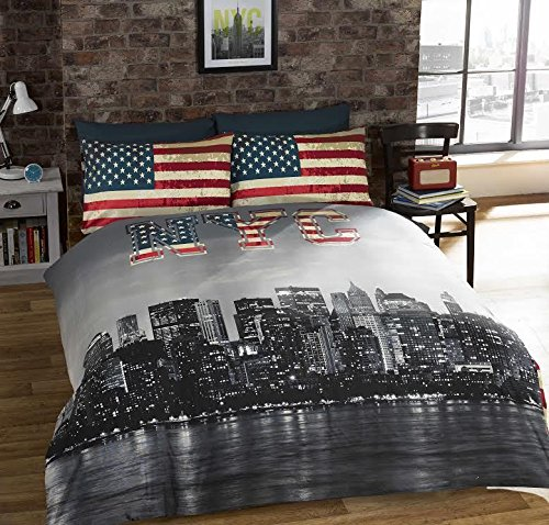 New York City Skyline Grey Black Double Bed Size Reversable Red Cream Flag Duvet Cover Quilt Set by Hallways