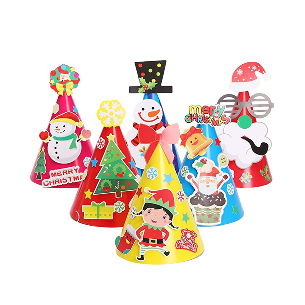 日曜日試み溶けたNUOBESTY 12ピースクリスマスコーン帽子紙帽子クリスマスdiyオーナメント用キッズ子供