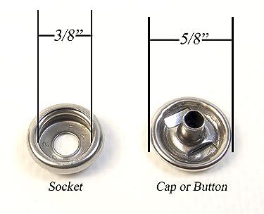 Northwest Tarp & Canvas Cap & Socket, Stainless Steel Snaps, Marine Grade, 25 Piece Set