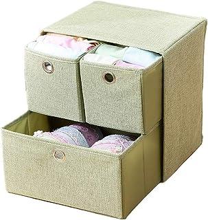 Boîtes de rangement à 3 tiroirs, panier d'organisation pliable et compact, organisateurs de tiroirs à vêtements for les or...