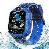 Enfants Montre Intelligente Étanche, Montre Connectée Enfant Tracker Smartwatch pour Fille Garçon SOS Smartwatch Enfants étanche Cadeau (Blue)
