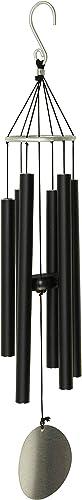 OSVINO 6 Tubes Carillons Vent Wind Chime Bell Crochet Décoration Jolie Jardin Maison,Noir 75cm