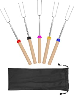 Marshmallow Roasting Sticks with Wooden Handle Extendable Forks Set of 5 PcsTelescoping Smores Skewers for Campfire Firepit and Sausage BBQ, 32 Inch