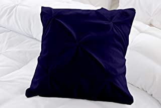 Natura Pura 1000 Thread Count, Pillow Cover 100% Cotton, Pinch Pleat Design, (Sofa/Throw Sized 18 By 18 Inch) Navy Blue, S...