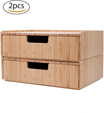 Bamboo Drawer 2 Pack Combo Set Stackable Storage Solution for office supplies, bathroom toiletries products, cosmetics and mo