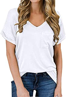 Women's Summer V Neck Casual T Shirt Rolled Sleeve Tunic...