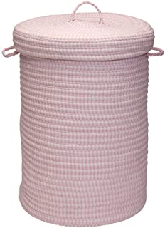 "Colonial Mills Ticking Stripe Solids Hamper, 18"" x 18"" x 30"", Pink"