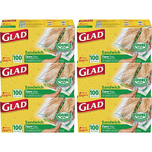 Glad Food Storage Bags, Sandwich Zipper, 100 Count, Pack of 6
