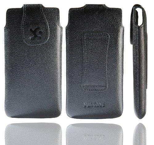 Suncase Original Tasche für Emporia PURE Leder Etui Handytasche Ledertasche Schutzhülle Hülle Hülle in vollnarbig-schwarz