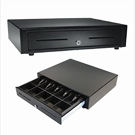 """APG Standard- Duty 19"""" Electronic Point of Sale Cash Drawer   Vasario Series VB320-1-BL1915   with CD-101A Cable  Printer Compatible   Plastic Till with 5 Bill/ 5 Coin Compartments   Black"""