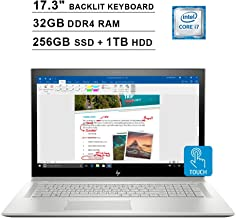 2019 Newest HP Envy 17.3 Inch FHD Touchscreen Laptop (Intel 4-Core i7-8550U up to 4GHz, 32GB RAM, 256GB SSD + 1TB HDD, NVIDIA MX150 2GB, Backlit Keyboard, DVD, WiFi, Bluetooth, HDMI, Win10) (Renewed)