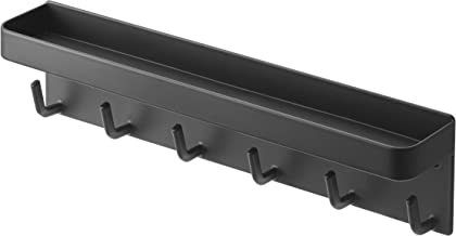 YAMAZAKI home 2755 Rin Magnetic Wall Organizer- Key Hooks & Tray for Storage Black