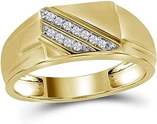 The Diamond Deal 10kt Yellow Gold Mens Round Diamond Diagonal Row Flat Top Fashion Ring 1/12 Cttw