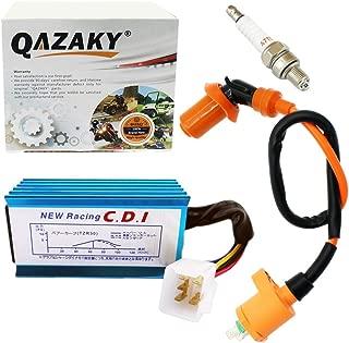QAZAKY Performance Racing Ignition Coil + Spark Plug A7TC + 5 Pins CDI Replacement for GY6 4-Stroke 50cc-110cc 125cc 150cc Scooter ATV Go Kart Moped Quad Pit Dirt Bike 139QMB 152QMI 157QMJ XR50 CRF50
