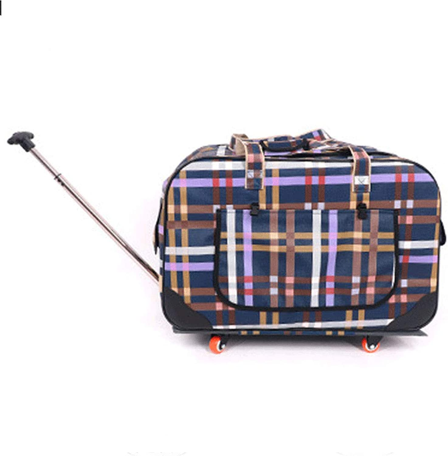 HN Dog Out Bag FourWheel Folding Trolley Case Cat Pet Stroller Breathable Cat Dog Suitcase,Check