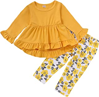 Kucnuzki Toddler Girl Outfit Baby Girl Sunflower Clothes Ruffle Sleeveless Linen Shirt Kid Sunflower Short Pants Set for Girl