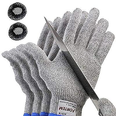 FORTEM Cut Resistant Gloves, 4 Gloves, Level 5 Protection, Food Grade, EN388 Certified