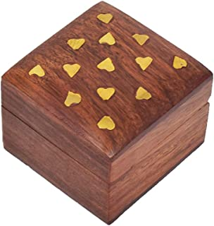 Hashcart Wooden Jewelry Box for Girls - Decorative Trinket Box for Ring Ceremony (2x2 inch)