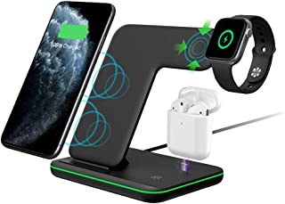 Intoval Wireless Charger,Wireless Charging Stand for Apple Watch Series 5 4 3 2 1/Airpods,Qi Fast Wireless Charging Station for iPhone 11/11 Pro/XS Max/XS XR,Galaxy S10 and All Qi-Enabled Phones.