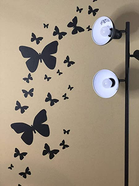 Create A Mural Butterfly Wall Decals 26 Butterfly Wall Decor Stickers Peel Stick Girls Wall Stickers Black
