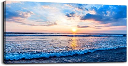 Canvas Wall Art for Living Room Blue Beach Ocean sea Waves Landscape Wall Decor Ready to Hang Home Decorations Bedroom Kitchen Bathroom Inspirational Canvas Prints Posters Painting Wall Mural Artwork