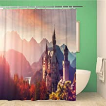 rouihot 72x78 Inches Shower Curtain Tipical Postcard Majestic Neuschwanstein Castle During Sunset with Colorful Clouds Waterproof Polyester Fabric Bath Bathroom Curtain Set with Hooks